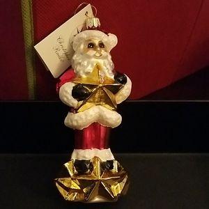 Radko Christmas Santa Joy Star Ornament gold